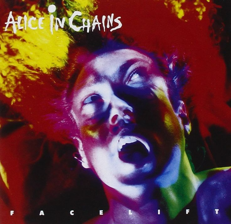 Alice in Chains - Facelift. Reds, yellows, blues, greens. Face morphed and manipulated. Band name; sans serif, resembles hand writing. Album title; capitals, smaller font, spaced out, juxtaposed along the bottom. Image in the centre. Psychedelic.