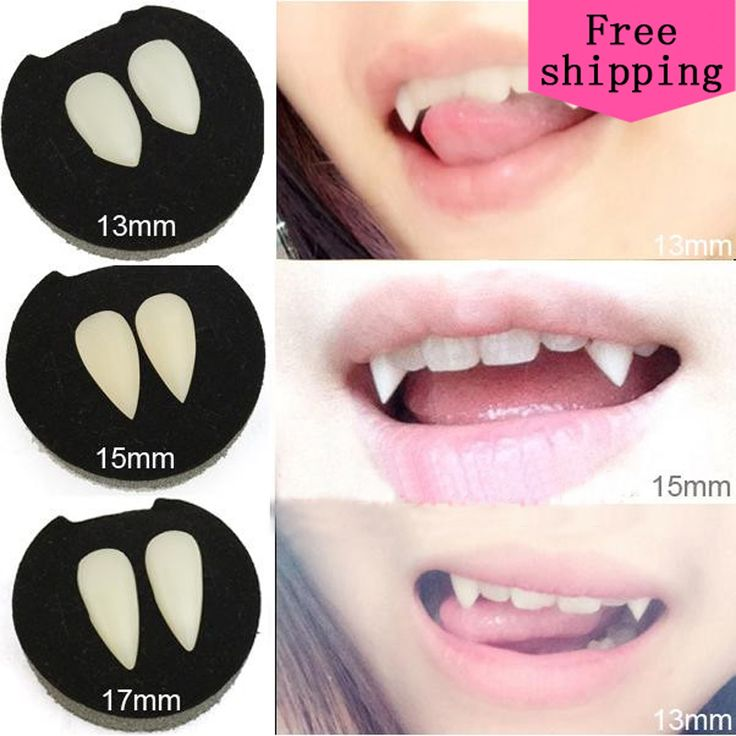 2Pcs 1.3cm 1.5cm 1.7cm Halloween Cosplay Dentures Zombie Vampire Teeth Ghost Devil Fangs Werewolf Teeth Props Costume Party