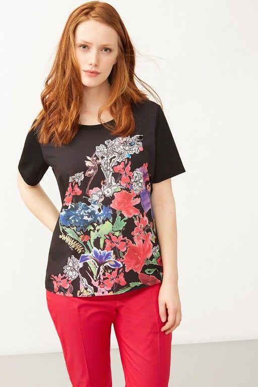 Elena Mirò, T-shirt con stampa floreale e ricamo