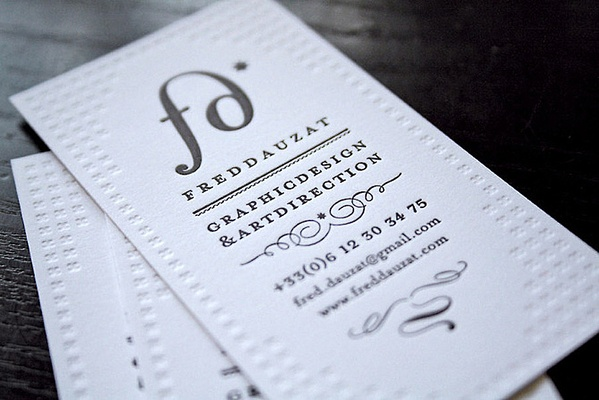 My own business cards / Letterpress by Fred Dauzat, via Behance