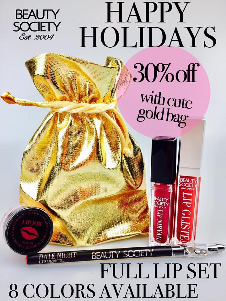 Lip Nirvana Matte lip gloss and Lip Glisten both have lids that light up and mirrors. lip Job Sugar scrub is edible with a lip pencil in a cute gold bag. Perfect gift giving idea.
