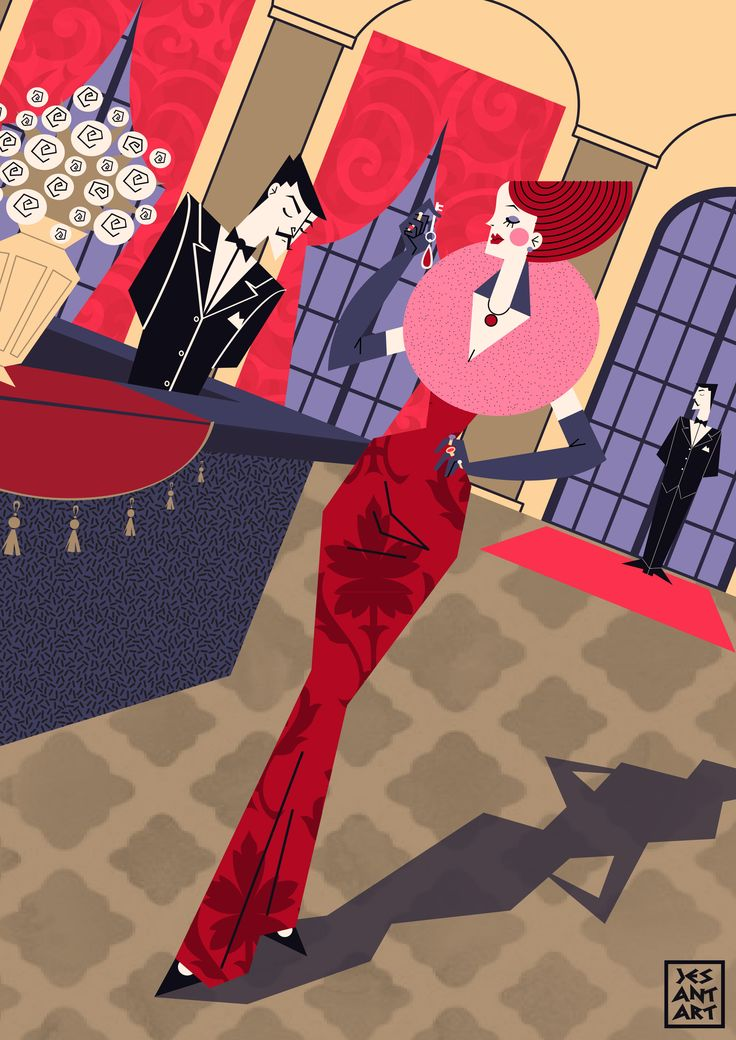 Hotel de luxe by JesAntArt #illustration #hotel luxe #madame #red #hall #reception