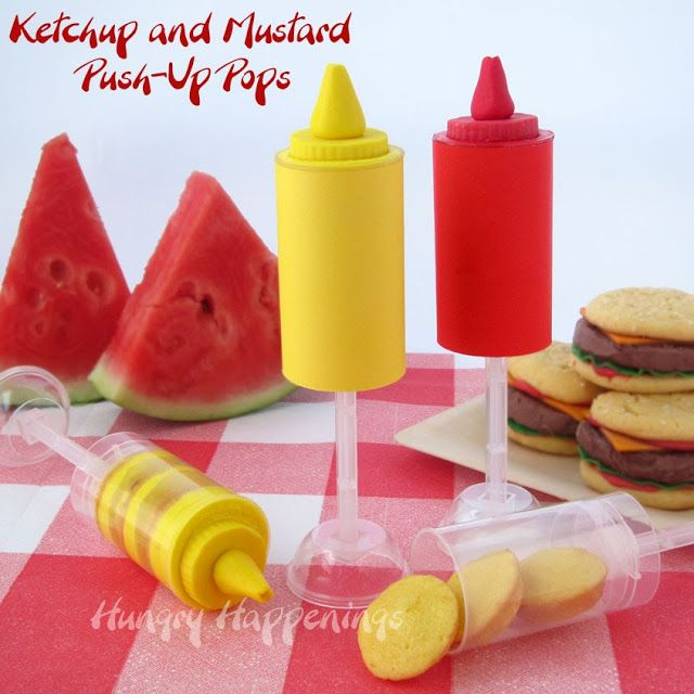 Hungry Happenings: Ketchup and Mustard Push-Up Pops for a Summer Picnic Party. Plus a great giveaway with 6 winners.