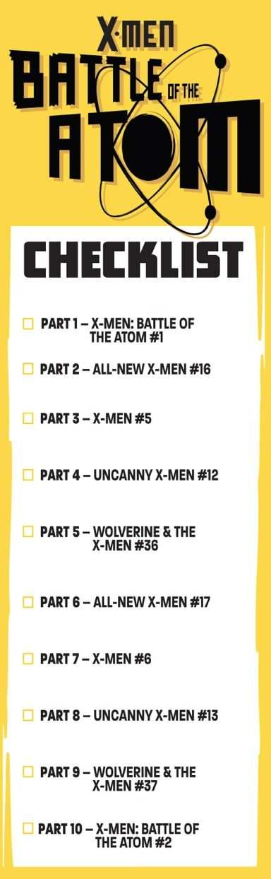 X-Men: battle of the Atom checklist  I know there's been a lot of false rumors about this series but the first two issues are shipping on time, as promised, on the same day September 4.  part one is by me and Frank Cho and Stuart Immonen, wade Von Grawbadger and Marte Gracia  part two is by the all-new X-Men team of me, Stuart Immonen wade Von Grawbadger and Marte Gracia both books are absolutely gorgeous and the story hits the ground running. this series will be shipping fast and furious…