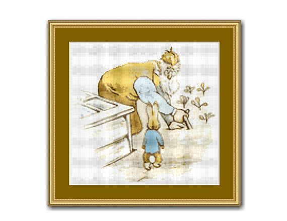 "The Tale Of Peter Rabbit #9 Cross Stitch Pattern / Chart, Beatrix Potter, ""Mr. McGregor!"", Instant Digital Download (TPR009)"
