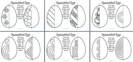 Free - Symmetrical eggs - students try to draw the same design on each eggEaster Worksheets, Schools Ideas, Easter Crafts, Schools Werkbladen, Symmetry Worksheets, Easter Eggs, To Draw, En Schools, Symmetrical Eggs