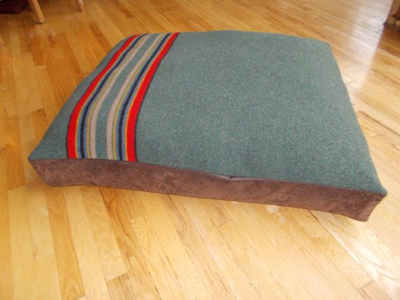 Campbell needs this    Pendleton Wool Blanket Dog Bed Green Washable by oregonwoolygoods, $150.00
