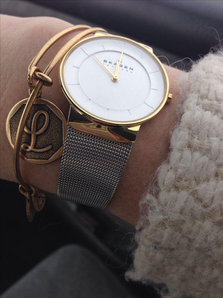 Snazzy Skagen & Alex and Ani bracelet http://www.thebay.com/webapp/wcs/stores/servlet/en/thebay/jewellery-accessories/watches/klassik-women%C3%A2%C2%80%C2%99s-three-hand-stainless-steel-watch-%C3%A2%C2%80%C2%93-gold-tone