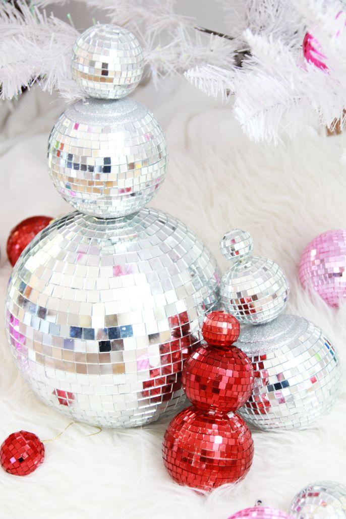 disco balls, snowman disco ball, christmas crafts, christmas diys