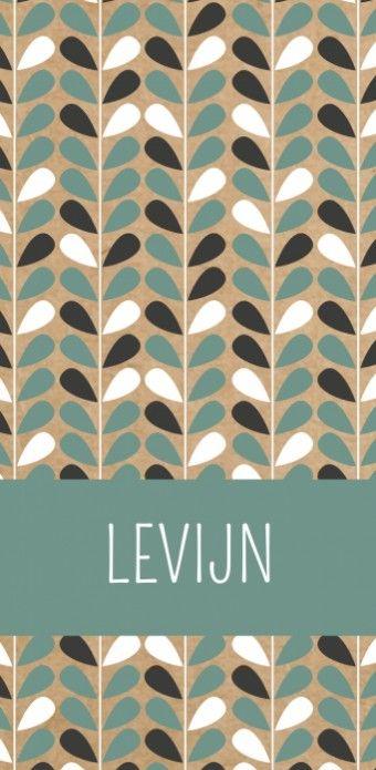 Levijn is een langwerpig jongens geboortekaartje met een scandinavisch patroon van blaadjes in zwart - wit  en donker mintgroen op een kraft karton look achtergrond.