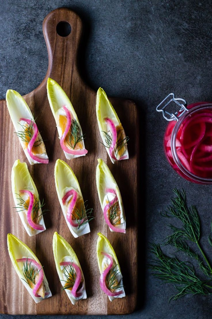 ENDIVE WITH WHIPPED GOAT CHEESE, SMOKED TROUT, PICKLED ONION and DILL - ful-filled