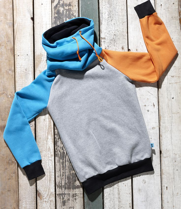 Orange, black, blue and grey high neck pullover Martello by Bosis