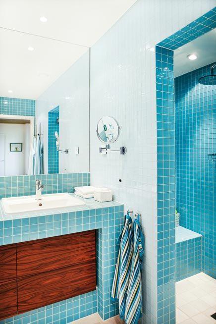 Badkamer met retro gevoel home 1st bathroom pinterest met and retro - Badkamer turkoois ...