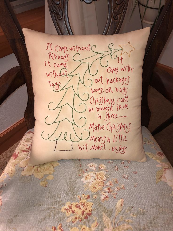 Excited to share the latest addition to my #etsy shop: Wonderful Christmas Grinch Embroidery Pillow - Primitive Christmas Decor - Farmhouse Decor -  Suess - Christmas Tree Pillow - Stitchery