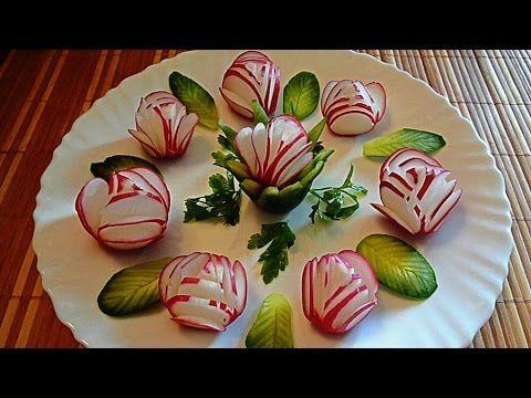 Украшения из овощей. Украшения тарелки. Карвинг помидора, огурца, лимона. Decoration of Vegetables. - YouTube
