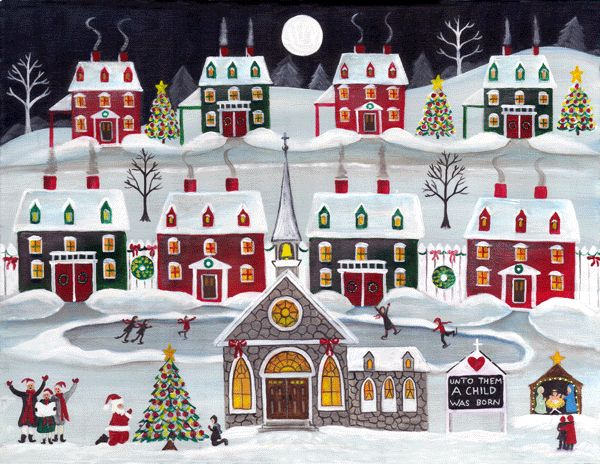 FOLK ART PAINTING PRINT KNEELING SANTA CHURCH CHRISTMAS EVE