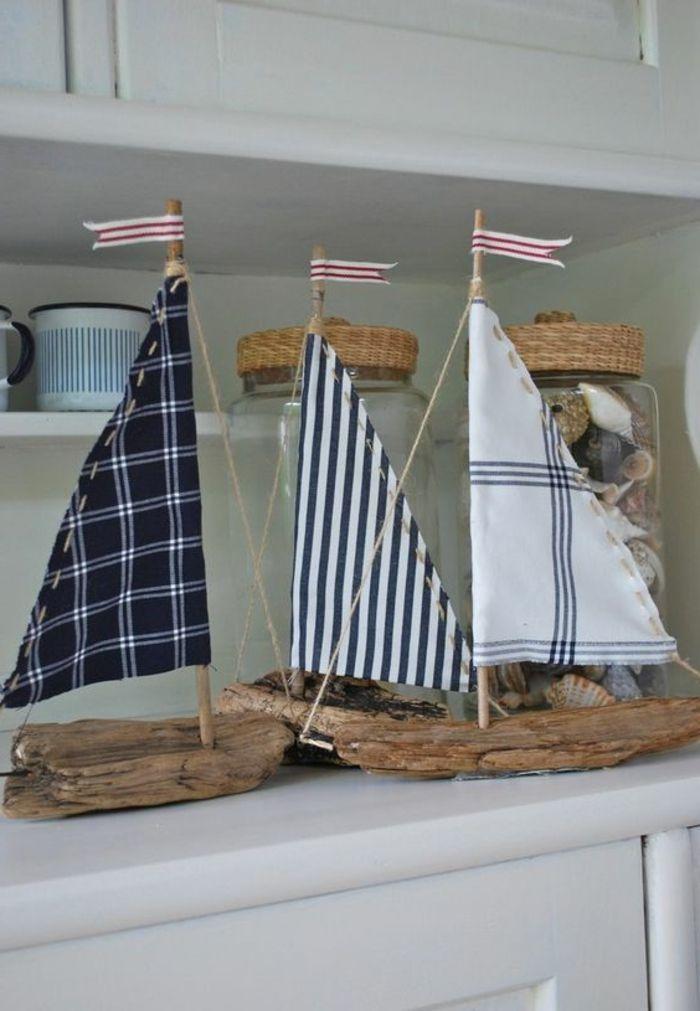 Perfect Segelschiffchen basteln Treibholz und Stoffreste K chen Deko maritim