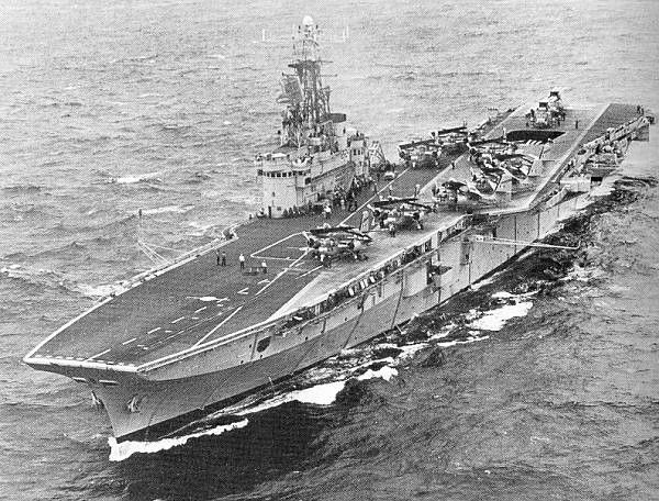 "ROYAL CANADIAN NAVY  HMCS BONAVENTURE   Displacement 16,000 tonnes. Armed with 4x3"" (2 barrelled) guns plus 8x40mm bofor."