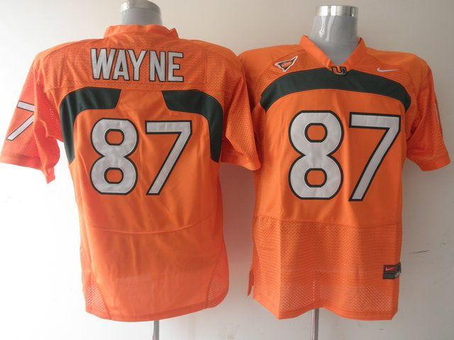 Men's NCAA Miami Hurricanes #87 Reggie Wayne Orange Jersey