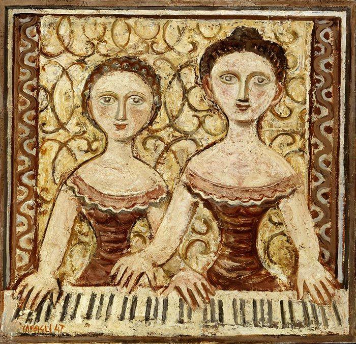 """Massimo Campigli (Italian, 1895-1971) - """"Donne al piano"""" (Women at the piano), 1947 - Oil on canvas"""