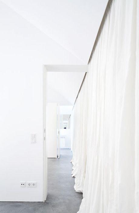 long white curtain wall