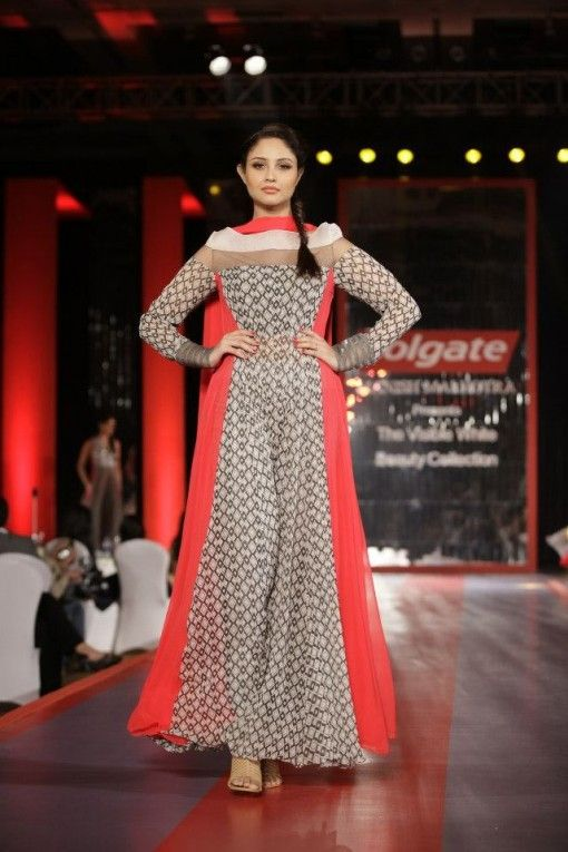 Manish Malhotra red white black long gown