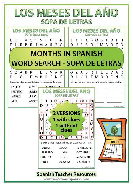 months of the year spanish word search sopa de letras de los meses del a o spanish teacher. Black Bedroom Furniture Sets. Home Design Ideas
