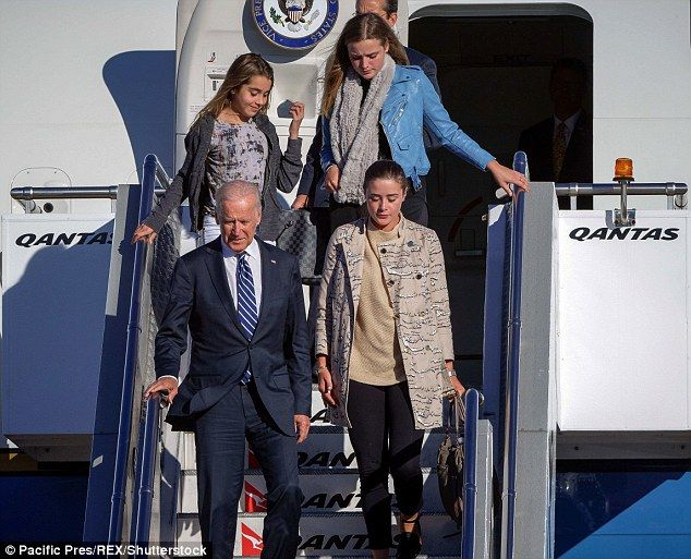 Vice President Joe Biden was joined by three of his granddaughters as he arrived in Sydney, Australia on Monday for meetings with the Australian prime minister and local business leaders. Clockwise, starting top left: 12-year-old Natalie Biden, 18-year-old Finnegan Biden, 21-year-old Naomi Biden, Joe Biden