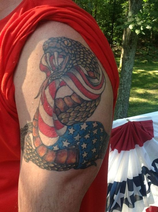 Best Flag Tattoos Design Rattle Snake And American Flag Tattoo Design For Men On Sleeve Tattoo Design In American Flag Tattoo Flag Tattoo Tattoo Designs Men