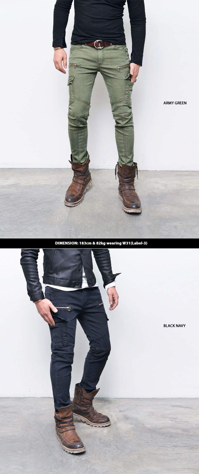 Bottoms :: Pants :: Slim Skinny Cotton Zip Biker Cargo-Pants 165 - Mens Fashion Clothing For An Attractive Guy Look