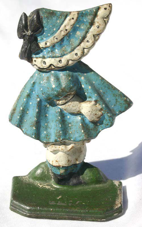 antique blue Sunbonnet Baby cast iron doorstop