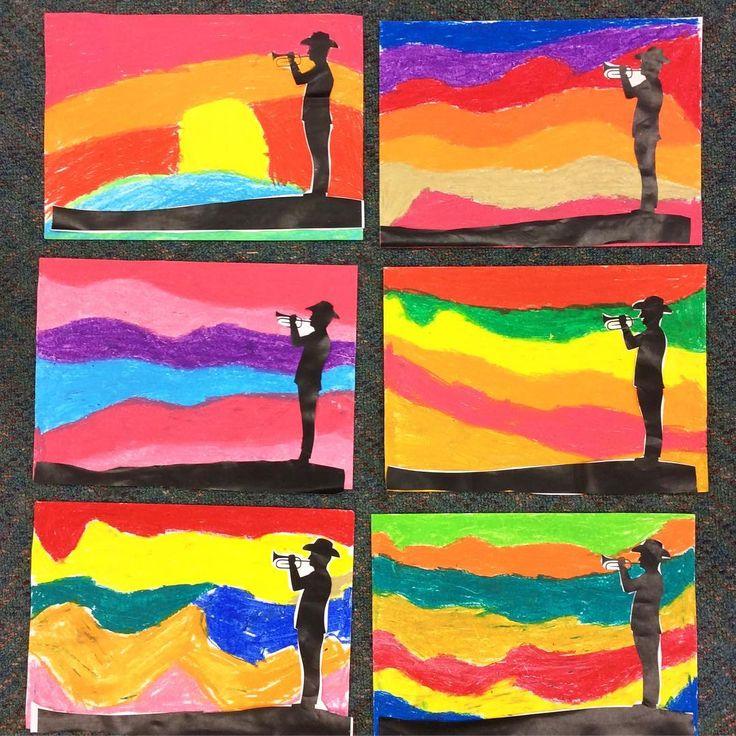 anzac day silhouette art templates teaching resource