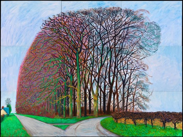 Was absolutely blown away by the David Hockney exhibition at the DeYoung. Fantastic!! #abiggerexhibition David Hockney, Bigger Trees Nearer Warter, Winter 2008. Oil on nine canvases (36 x 48 in. each) 108 x 144 in. overall. © 2013 David Hockney. Photo: Richard Schmidt