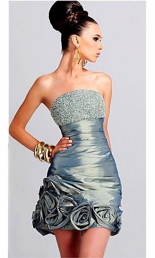 Cocktail Dress by Blush 9083 BL-9083  www.dresseswd.com  Style: BL-9083  Name: Short Taffeta Dress  Closure: Zipper  Details: Modern, Rose Detail at Hemline  Fabric: Taffeta  Neckline: Beaded Straight, Strapless  Waistline: Pulled