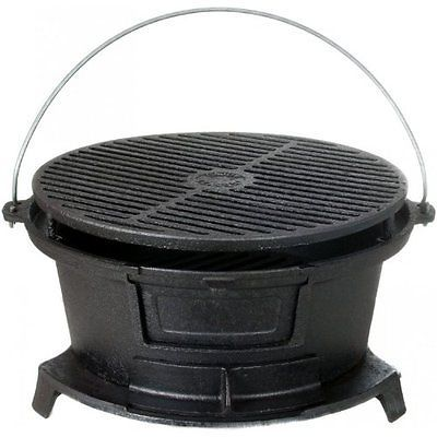 Cajun Cookware Grills Round Seasoned Cast Iron Hibachi BBQ Grill in Home & Garden, Yard, Garden & Outdoor Living, Outdoor Cooking & Eating | eBay