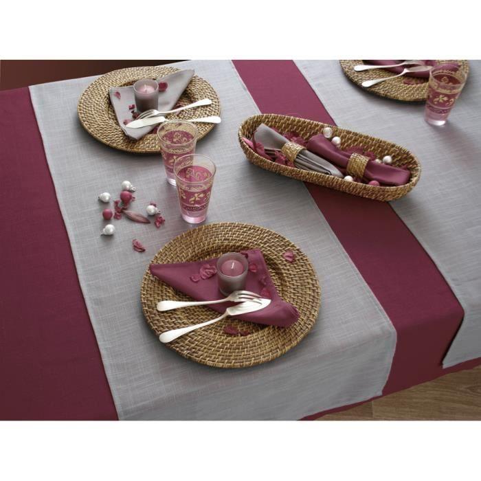 nappe aspect lin ronde 180 cm prune achat vente nappe ronde 180 cm prune soldes. Black Bedroom Furniture Sets. Home Design Ideas
