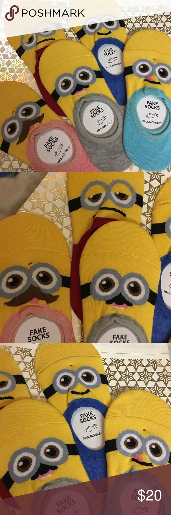 Cute minion socks😉great as stocking stuffers! 🎄 Cute minion socks😉23-25 cm one size only. price for all 5 Accessories Hosiery & Socks