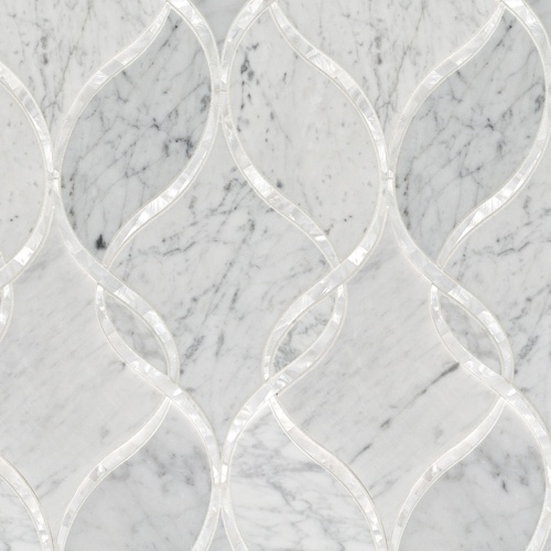 Artistic Tile | Bianco Carrara Claridges Stone & Shell Water Jet Mosaic | Water Jet Collection