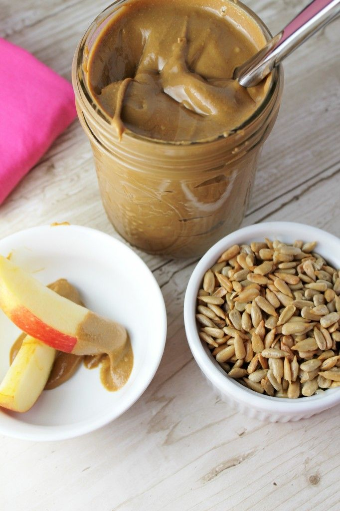 Homemade Sunflower Seed Butter. I put a spoonful of sunflower seed butter in my morning smoothies for protein. Cheaper to make my own!