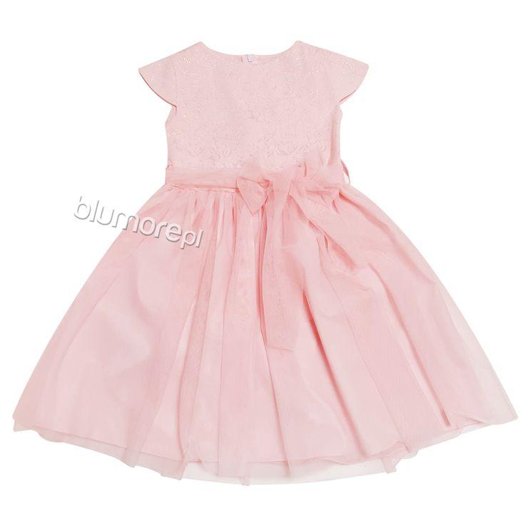 Delikatna kreacja w bardzo dziewczęcym różowym kolorze. Tiulowy dół sprawia, że ta sukienka to marzenie każdej dziewczynki! Polecamy gorąco! | Cena: 129,00 zł