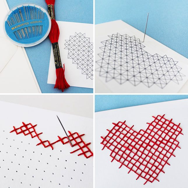 3 Simple Ways to Cross-Stitch Your Valentine's Goodies | Brit + Co. #DIY #stationary #paper #sew