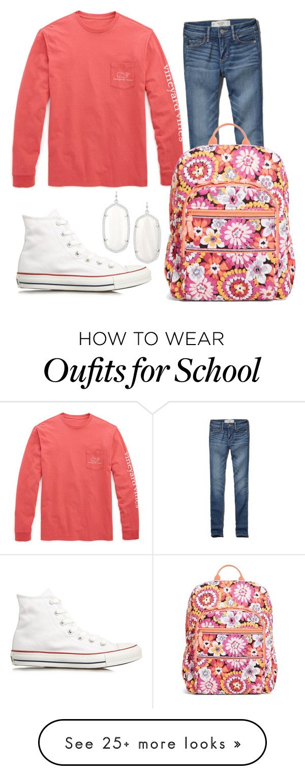 """School Day Outfit"" by a-s-h-l-y-n on Polyvore featuring moda, Kendra Scott, Converse, Vineyard Vines, Abercrombie & Fitch i Vera Bradley"