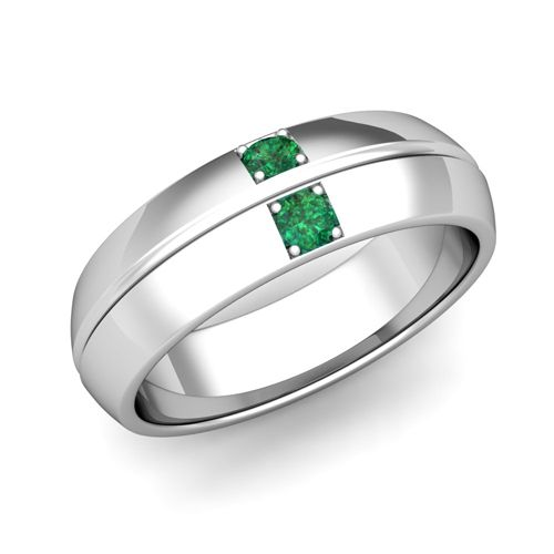 mens emerald wedding band in 14k white or yellow gold 012 cttw 6mm