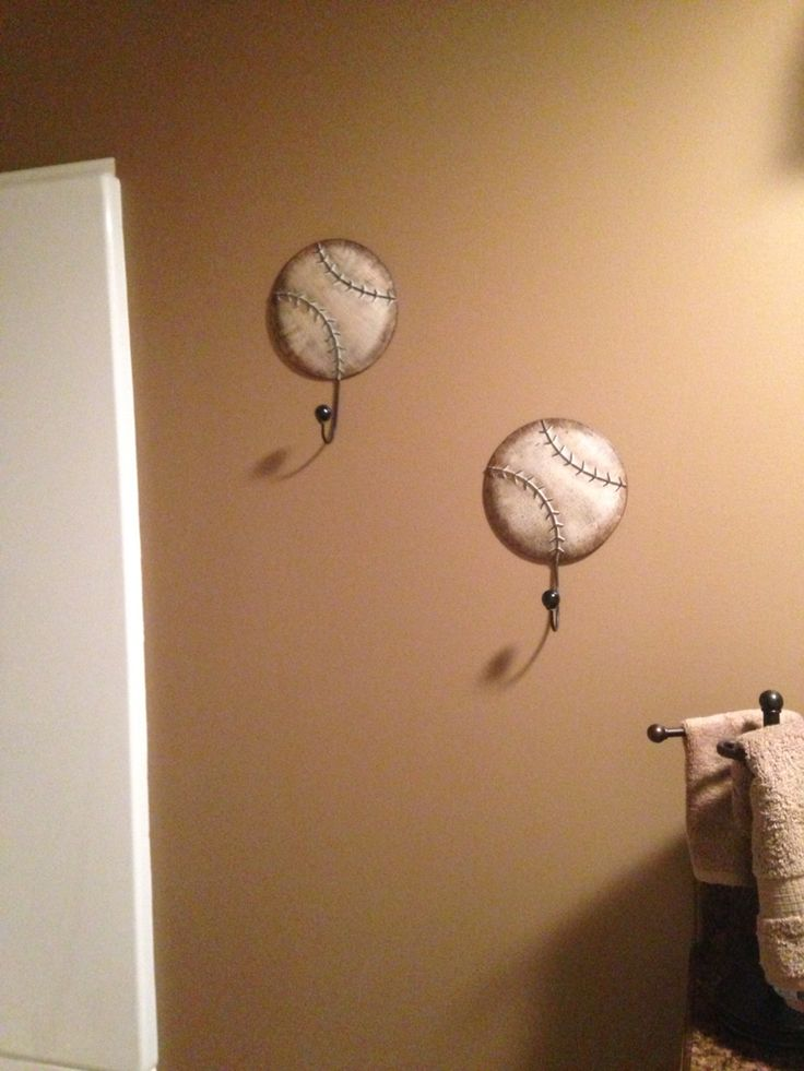 Wonderful Bathrobe Hooks For Baseball Themed Bathroom