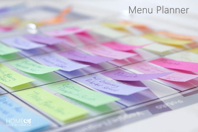 Menu Planner - Home Made By Carmona Such an awesome idea that incorporates color and diversity! I love that you have the ability to plan your meals weeks in advance and have the ability to change your mind also. Recipe Organization, Organization Hacks, Organizing Tips, Organising, Blog Planner, Happy Planner, Arc Planner, Household Binder, Household Tips