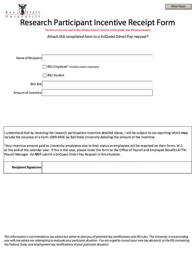 Printable Participant Incentive Receipt Form -   - property inspector resume
