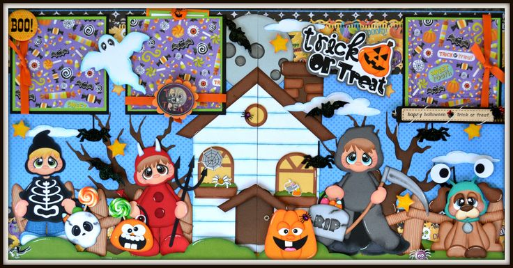 Newly listed on Ebay  http://www.ebay.com/itm/Elite4u-Premade-Scrapbook-Layout-Page-Halloween-Paper-Piecing-Trick-or-Treat-/321550224971