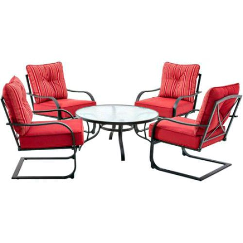 Outdoor Patio Furniture 5Pc Family Glass Top Table 4 Red Cushions Armchairs Set #Mainstays