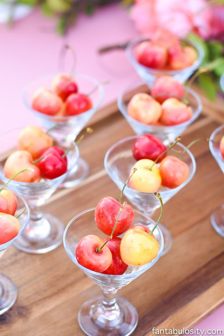 Rainer Cherries for a pink & peach dessert table snack idea: Favorite Things Party