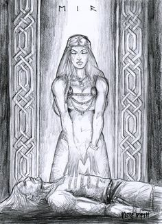 Eir is the goddess associated with healing. She is known to be one of the handmaidens of Frigg, who is wife of Odin, the king of the gods. She is considered a minor goddess and is not one of the Æsir often thought of when one thinks of the Norse pantheon